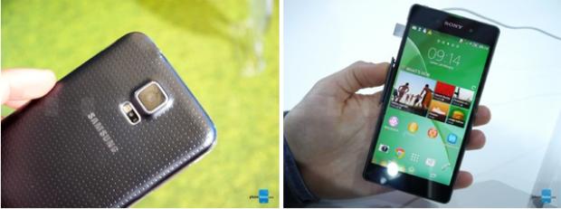 Từ trái qua phải: Samsung Galaxy S5 và Sony Xperia Z2.