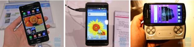 Từ trái qua phải: Samsung Galaxy S II, LG Optimus 3D, và Sony Xperia Play.