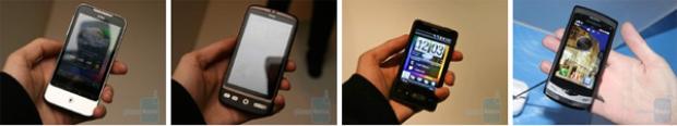 Từ trái qua phải: HTC Legend, HTC Desire, HTC HD mini, và Samsung Wave.