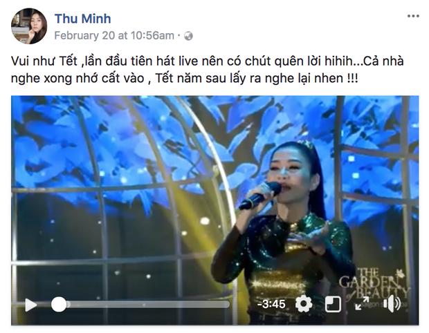 """""""Nữ hoàng nhạc dance"""" Thu Minh mang đến không khí sôi động cho một đêm sự kiện với ca khúc Vui như Tết, đây là lần đầu tiên cô trình diễn live bài hát này nên đôi chỗ còn sai lời. Tuy nhiên, giọng hát tuyệt vời đã bù đắp tất cả và khán giả vẫn vô cùng nhiệt liệt ủng hộ theo cả tiết mục."""