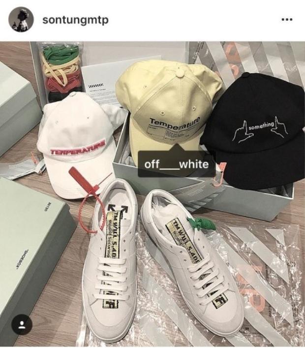 Mũ và một đôi sneaker khác cũng từ thương hiệu của Off-White.