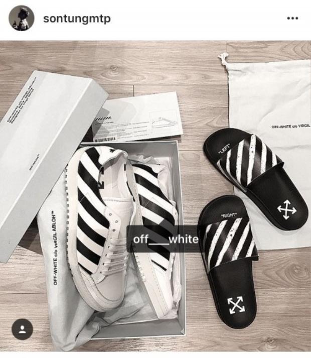 Liền một lúc Sơn Tùng sắm rất nhiều phụ kiện của Off-White từ giầy sneaker, dép lê.