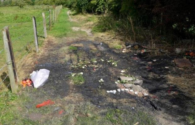Hiện trường nơi tìm thấy chiếc xe Audi bị đốt cháy hoàn toàn.