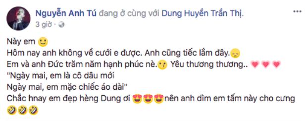 Á quân đội HLV Đông Nhi - Nguyễn Anh Tú gửi lời chúc đến đồng nghiệp thông qua facebook cá nhân do không thể tham dự trực tiếp.