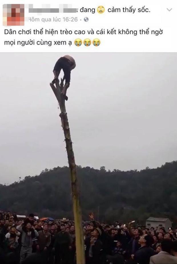 Hình ảnh nam thanh niên trèo lên ngọn chuối cao cả chục mét đăng tải lên mạng khiến nhiều người kinh hãi.