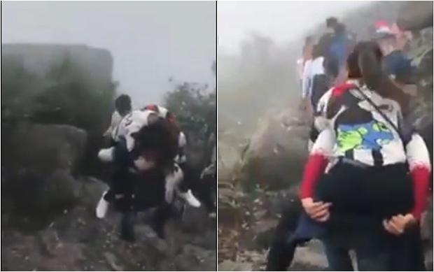 Clip soái ca vừa leo núi vừa cõng bạn gái lên đỉnh Yên Tử khiến dân mạng tranh cãi dữ dội