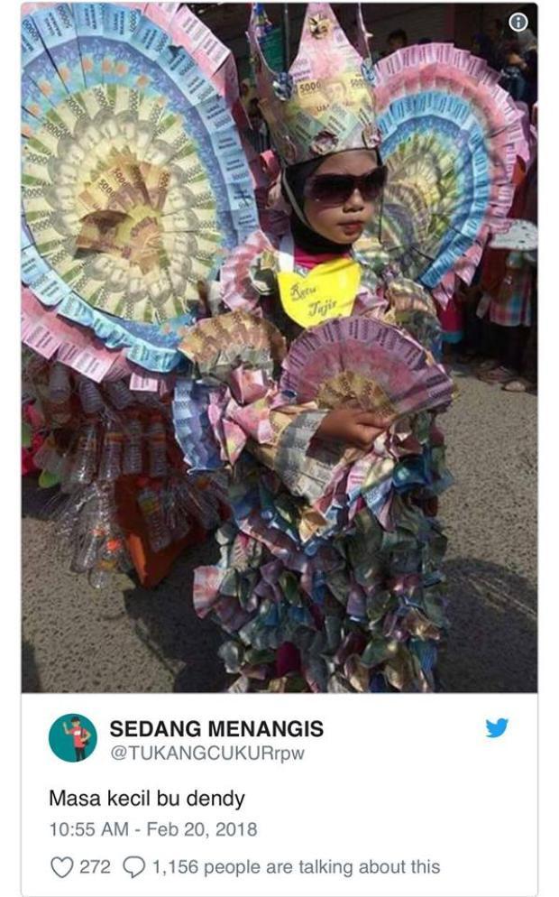 Hình ảnh khoe mẽ thủa bé của Bu Dendy. Nguồn: Twitter