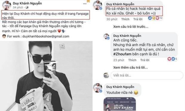 Duy Khánh Zhou Zhou bỏ hẳn Facebook riêng vì bị hack quá nhiều lần.
