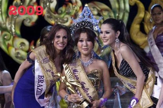 Sau năm 2008 tạm ngưng vì bất an chính trị tại xứ sở chùa Vàng. Năm 2009, người đẹp sinh năm 1972 -Ai Harunatrở thành người Nhật Bản đầu tiên đăng quang Miss International Queen. Tuy nhiên, nhan sắc của cô vẫn không đủ thuyết phục khán giả yêu mến cuộc thi này.
