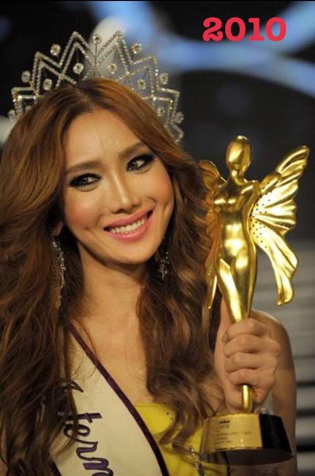 """Một năm sau, nhan sắc Hàn Quốc - Mini Han đăng quang Hoa hậu Chuyển giới Quốc tế 2010. Người đẹp là minh chứng cho công nghệ phẩu thật thẩm mỹ """"không chỗ chê"""" của xứ sở Kim Chi thời điểm đấy."""