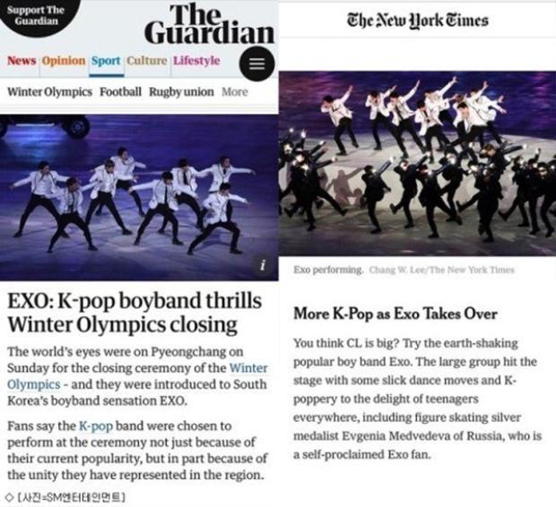 EXO được các trang báo lớn khen ngợi.