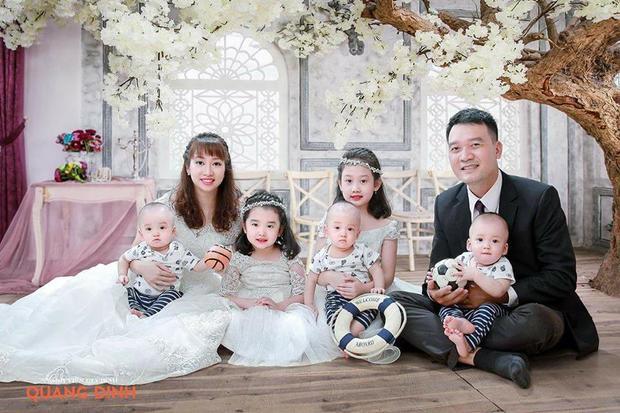 Các con của vợ chồng chị Hằng, nhất là 3 cậu con trai sinh 3 đều giống hệt bố nên chị Hằng thường nói vui rằng mình chỉ là người đẻ thuê. Ảnh: NVCC.