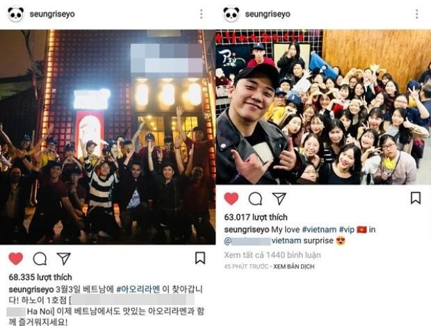 Seung Ri chia sẻ liên tiếp hai hình ảnh chụp tại Hà Nội.