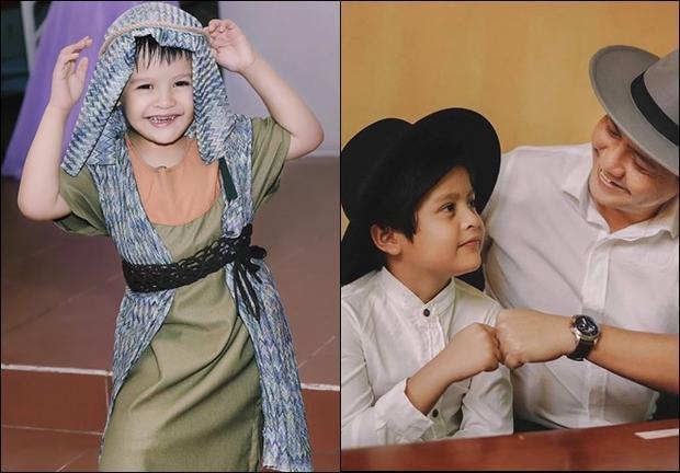 """Bé Cà Phê tuy chỉ mới 9 tuổi nhưng đã sớm bộc lộ tố chất """"soái ca"""" với những đường nét gương mặt thừa hưởng """"gen trội"""" từ ba Đức Thịnh và mẹ Thanh Thúy."""