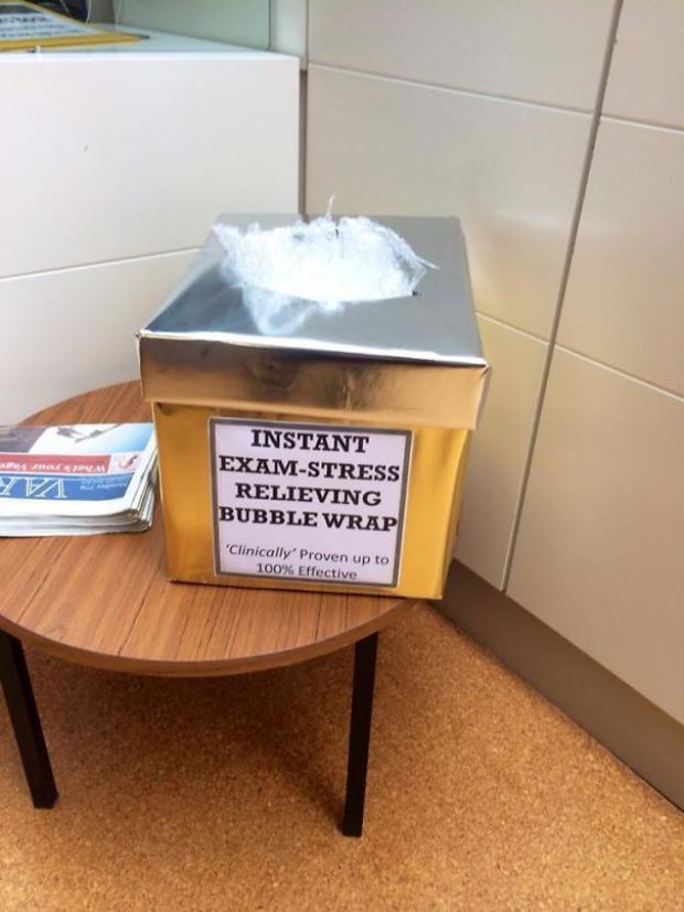 Ngôi trường này còn có hẳn 1 thùng chứa bong bóng hơi giúp sinh viên giải toả căng thẳng.