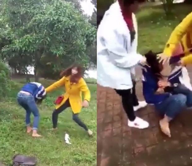 Nữ sinh bị đánh dã man. Ảnh cắt từ clip.