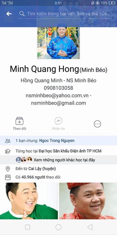 Người này dẫn chứng Facebook này xác thực là của Minh Béo.