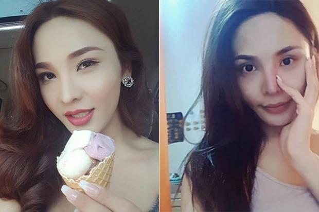 Hình ảnh trước và sau khi trang điểm của thí sinh đếntừMông Cổ.
