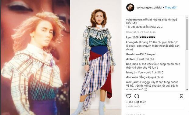 Trên trang cá nhân Instagram của mình mới đây, Võ Hoàng Yến đã đăng đàn dòng trạng thái về việc cô muốn trình diễn cho show thời trang nội yVictoria Secret. Ngay sau đó là những dòng bình luận khuyến khích chân dài hãy đi thử một lần.