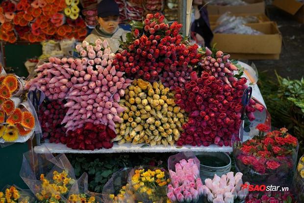 Hồng đỏ, hồng vàng, hồng phớt… được bán đầy chợ.