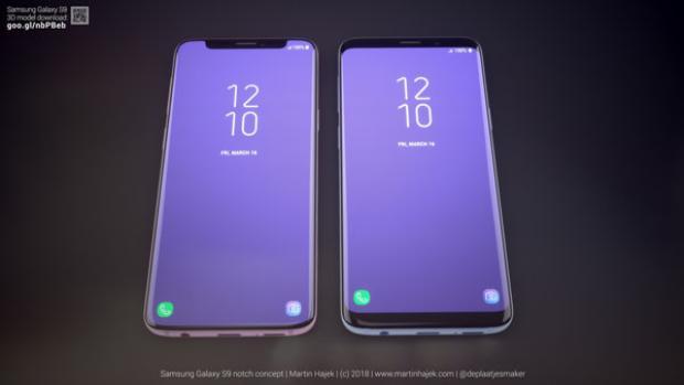 """Samsung Galaxy S9 có """"tai thỏ"""" ở bên phía tay trái so với Samsung Galaxy S9 với thiết kế thực tế ở bên phía tay phải. Rõ ràng, chiếc S9 có """"tai thỏ"""" có diện tích màn hình khả dụng lớn hơn."""