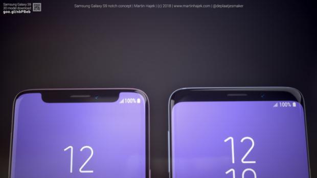 """Cận cảnh phần """"tai thỏ"""" trên chiếc Samsung Galaxy S9 trong hình dung của Martin Hajek."""