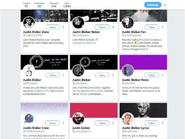 Tài khoản mạng xã hội của tràn ngập hình ảnh của chàng ca sĩ trẻ Justin Biber. Ảnh:news.com.au