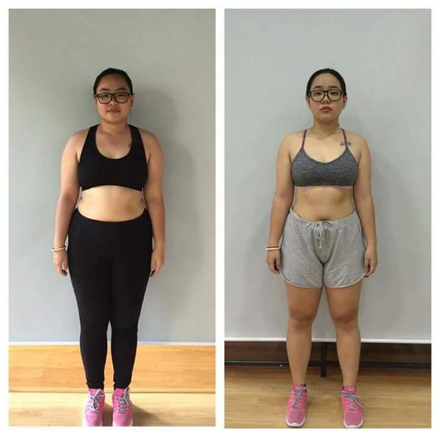 Từ cô nàng mũm mĩm, tròn trịa, cô bạn 9X đã cải thiện được hình thể của mình, các múi cơ, múi bụng đang dần hiện rõ.