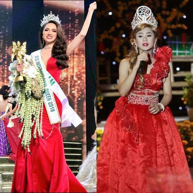 """Cùng là váy đỏ, cùng đội vương miện nhưng Lâm Chi Khanh vẫn là """"công chúa"""" còn Hương Giang giờ là Hoa hậu rồi."""