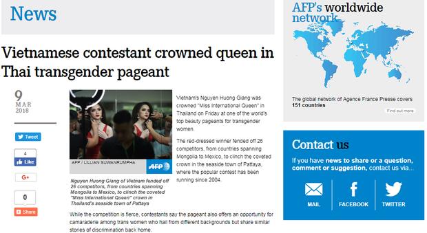 Tờ AFP của Pháp đưa tin về chiến thắng của Hương Giang.