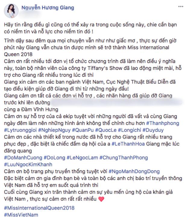 Dòng trạng thái tri ân không thể đầy đủ hơn của Hoa hậu Hương Giang.