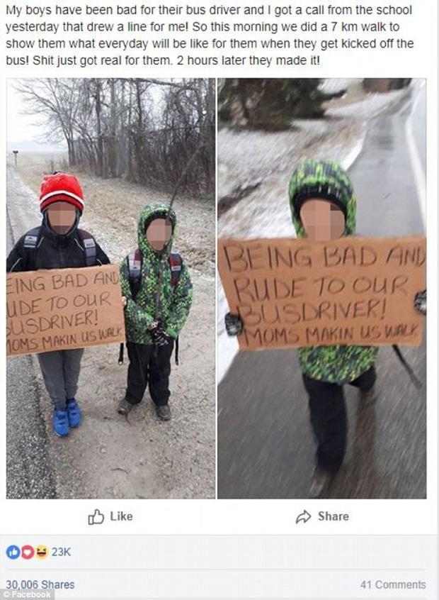 Bà mẹ ở Harrow chia sẻ trên Facebook hình phạt hai con khi không tôn trọng tài xế xe buýt. Ảnh: Facebook/Daily Mail