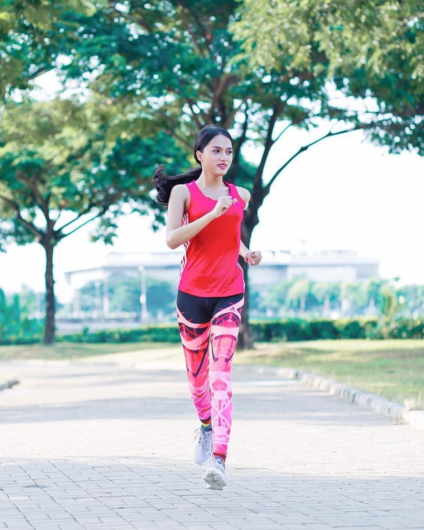 Chạy bộ hay cardio cũng là một trong những bài tập yêu thích nhất của Giang giúp giảm mỡ và săn chắc cơ thể.