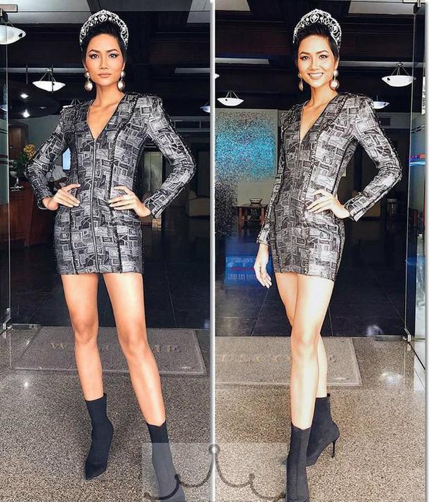 H'Hen Niê nổi bật khoe làn da bánh mật cùng đôi chân dài thẳng tắp trong thiết kế khoét cổ sâu.