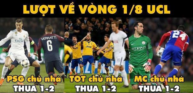 Trước M.U, có đến 3 đội bóng chủ nhà thất bại cùng tỉ số 1-2 trong lượt về vòng 1/8 Champions League năm nay.