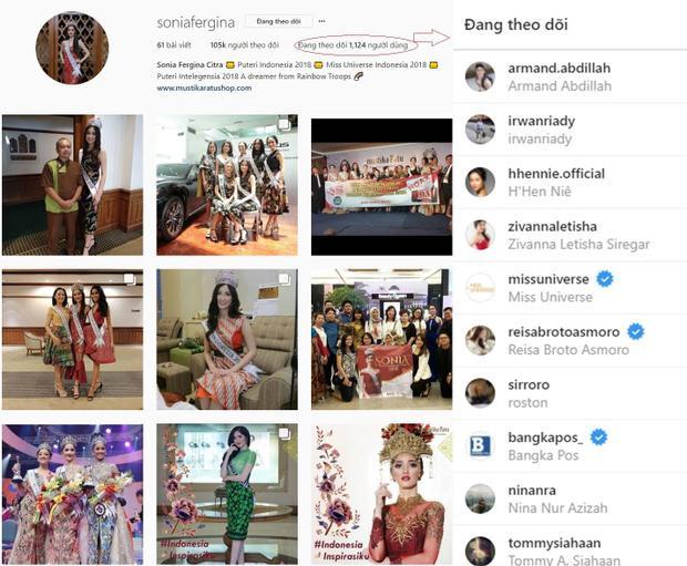 … và Hoa hậu Hoàn vũ Indonesia đều ấn nút theo dõi đại diện Việt Nam tại Miss Universe 2018.