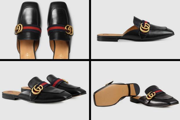 Đôi giày có tên đầy đủ là Leather slipper phiên bản màu đen, hiện tại được bán với giá 540 bảng Anh, tương đương khoảng 17 triệu 100 nghìn đồng.