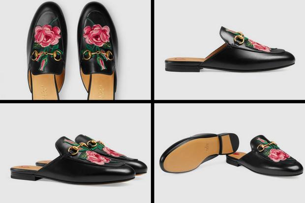 Đôi giày có tên đầy đủ là Princetown leather slipper có họa tiết hoa hồng, hiện tại được bán với giá 585 bảng Anh, tương đương khoảng 18 triệu 500 nghìn đồng.