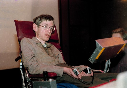 Stephen Hawking ở Chicago năm 1985.