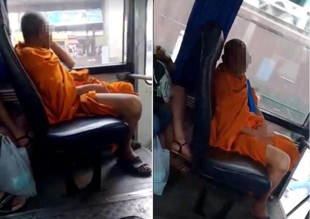 """Nhà sư Thái Lan """"tự sướng"""" ngay trên xe buýt. Ảnh Asiaone"""