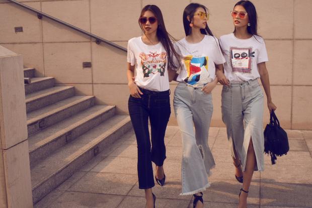 Ngoài ra, những thiết kế bay bổng, ngọt ngào nhưng vô cùng xu hướng của hoạ tiết print mix cũng được ba cô nàng áp dụng, từ áo thun trắng in ấn basic…