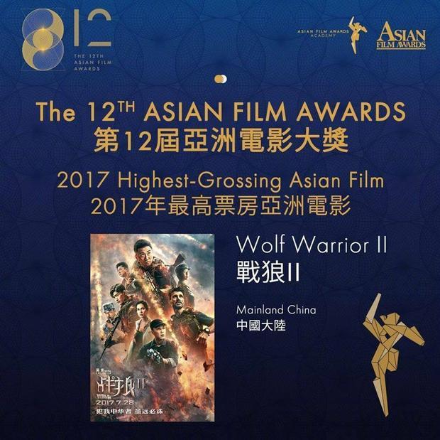 """Movie """"Chiến lang 2"""" với giải thưởng """"Bộ phim có doanh thu phòng vé cao nhất Châu Á"""". Đây là giải thưởng """"nghiễm nhiên"""" thuộc về """"Chiến Lang 2"""" khi doanh thu bộ phim đạt kỷ lục tại doanh thu Trung Quốc lẫn Châu Á."""