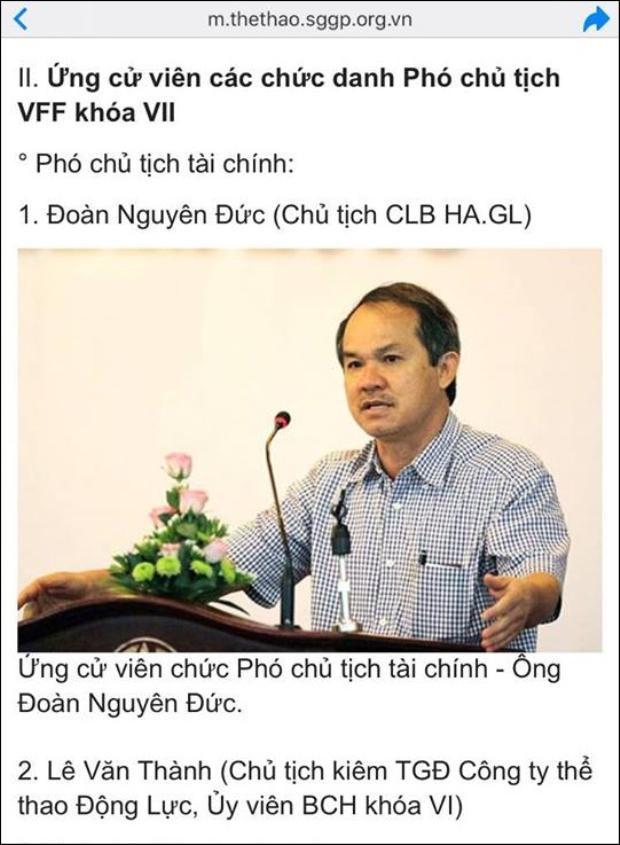 Tờ Thể thao Sài Gòn giải phóng, ngày 25/3/2014 cũng nêu rõ về hai ứng viên phó Chủ tịch tài chính là bầu Đức và ông Lê Văn Thành.