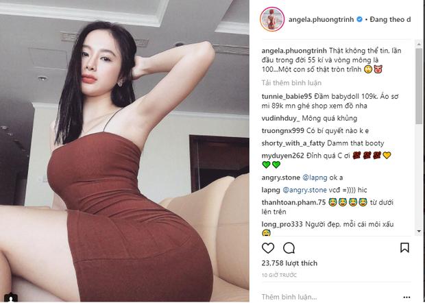 Đây là hình ảnh mới nhất Angela Phương Trinh đăng tải trên trang Instagram của mình. Cô cho biết vòng 3 hiện tại của mình vừa tròn 1 mét.Có thể nói Angela Phương Trinh là một trong những chân dài Vbiz chăm chỉ khoe thân không biết chán.