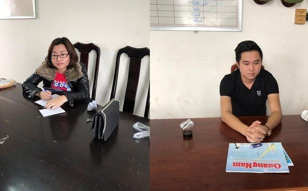 """""""Nữ quái"""" Nguyễn Thị Vinh và người tình tại cơ quan điều tra. Ảnh: P. Nam"""