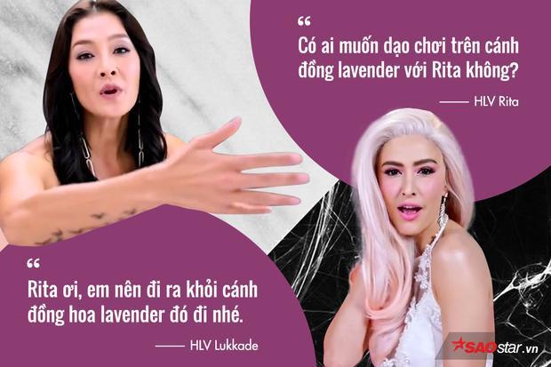 Không bị loại thí sinh, Lukkade vẫn tìm cách châm chọc màu tóc rực rỡ của Rita là… cánh đồng hoa lenvender.