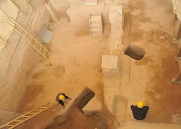 Hiện trường khai quật mộ chính nơi tìm thấy di cốt Tào Tháo.
