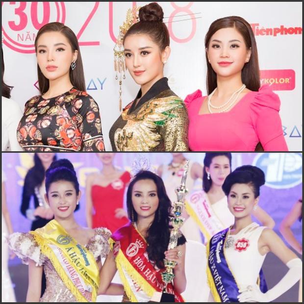 Top 3 Hoa hậu Việt 3 2014 đứng chung cùng một khung hình sau gần 4 năm đăng quang. Có thể thấy nhan sắc của Hoa hậu Kỳ Duyên đã thay đổi rất nhiều theo thời gian.
