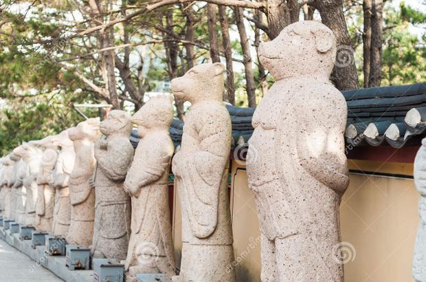 Bên ngoài ngôi chùa Haedong Yonggungsa nằm ở phía đông bắc của Busan cũng cho đặc những bức tượng tương tự. Ảnh: Dreamstime