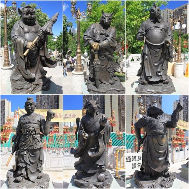 Những bức tượng 12 con giáp này được đặt tại ngôi chùa nổi tiếng linh thiêng - Huỳnh Đại Tiên ở Hong Kong (Trung Quốc). Ảnh: Lense Moments